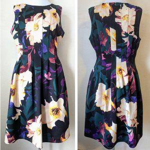 Vince Camuto Scuba Fit & Flare Floral Dress Black